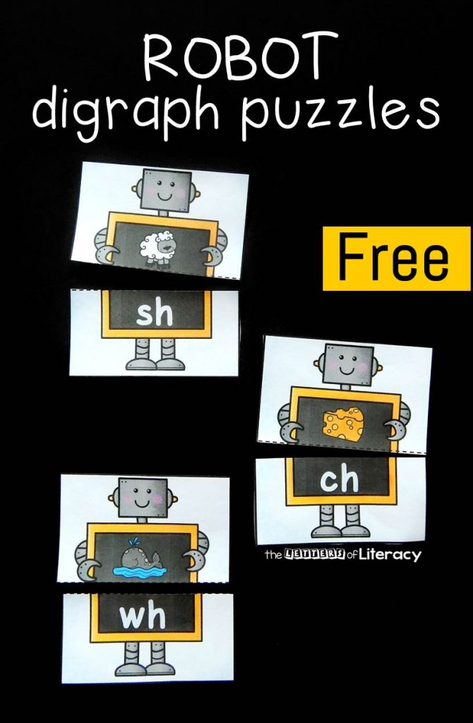 FREE Printable Digraph Puzzles for Kindergarten!