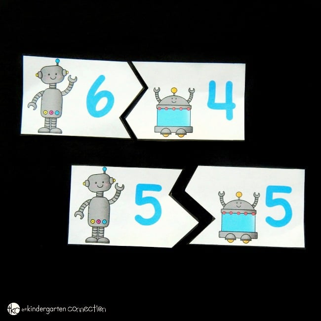 Make learning sums of 10 super fun with these engaging free printable robot sums of 10 puzzles! They are a great addition math center for kids!