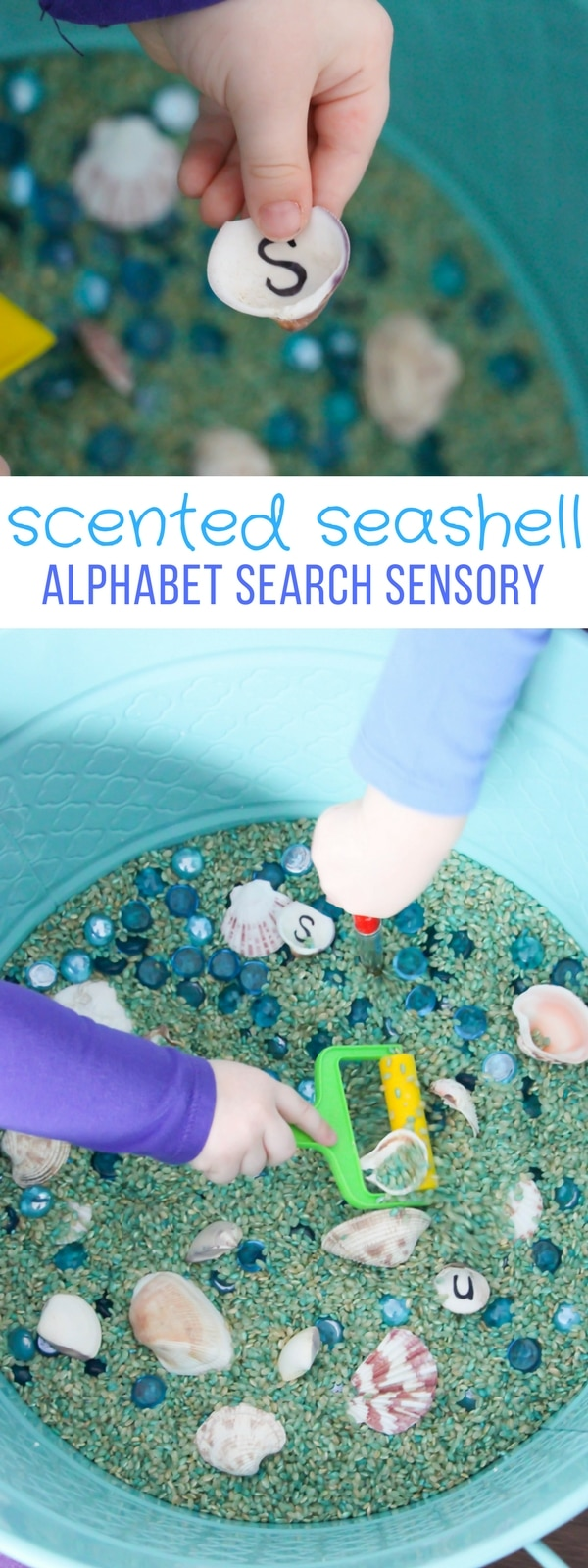As the summer gets closer, my kids and I are equally anxious for lazy beach days so I thought a Tropical-scented Seashell Alphabet Search Bin would be a great way to close out the year.