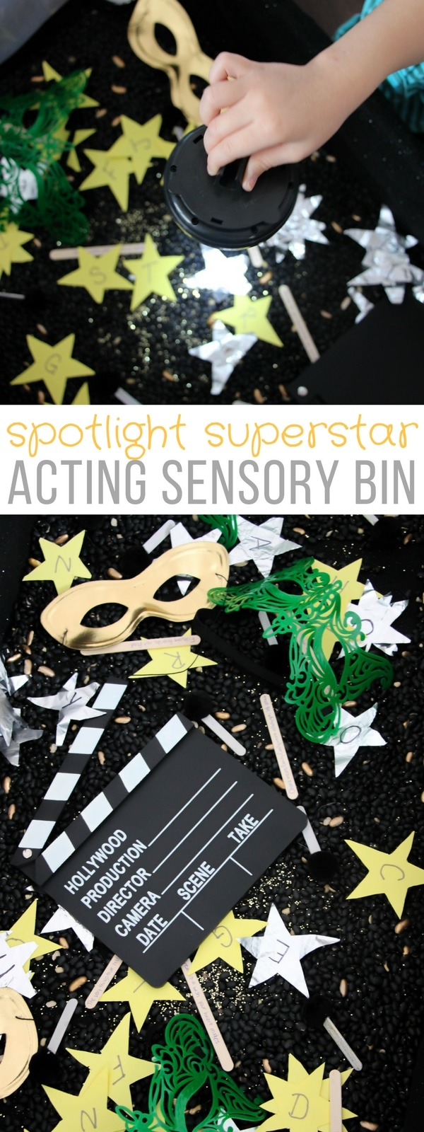 Create a spotlight superstar sensory bin! Combine literacy with the glitz and glamor of the spotlight in this fun, brightly colored sensory bin.