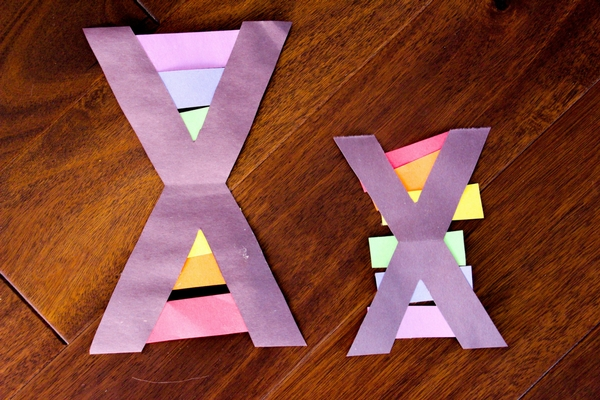 There are a couple fun options for the letter X craft, but with my rainbow-loving crew we definitely had to do X is for Xylophone with some rainbow bars.