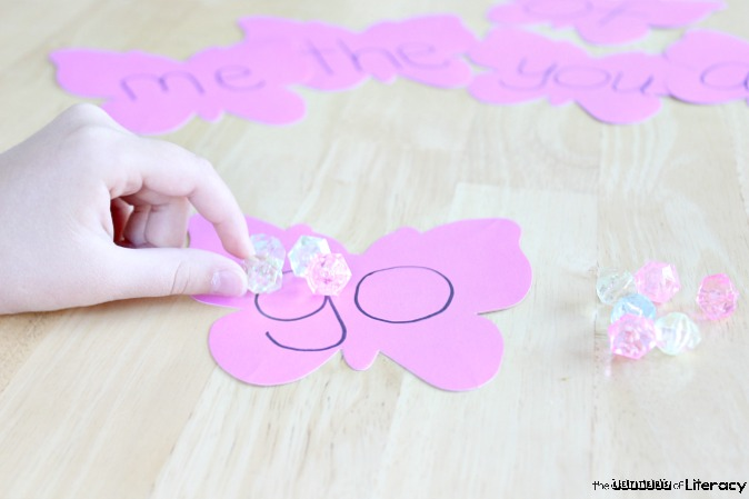 Put together this Fine Motor Sight Word Literacy Activity with materials that you already have on hand! It is simple and will teach sight words!
