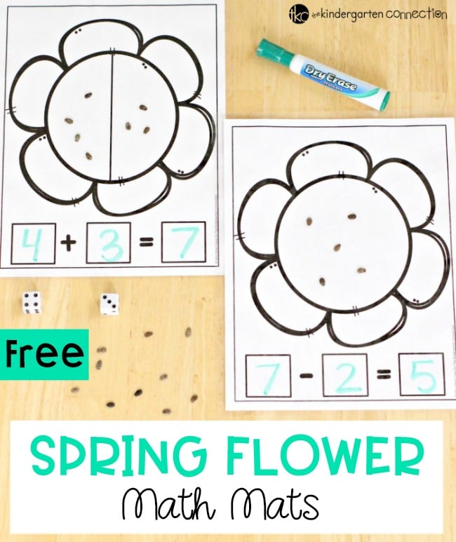 Practice addition and subtraction with these FREE PRINTABLE Addition and Subtraction Spring Flower Math Mats