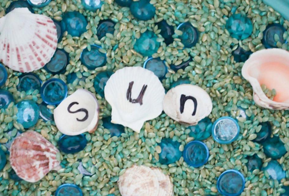Scented Seashell Alphabet Search Sensory Bin