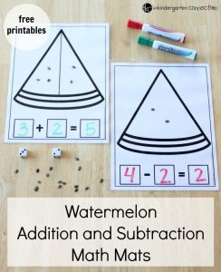Watermelon Addition and Subtraction Math Mats with Free printables