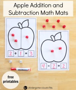 Apple Addition and Subtraction Math Mats FREE Printables