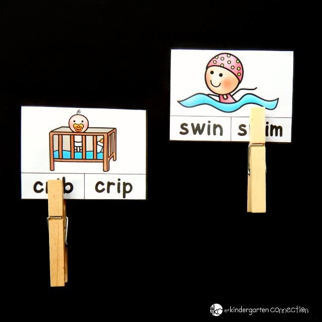These free printable CCVC words clip cards are great for Kindergarten and First grade students to work on reading blends and digraphs!