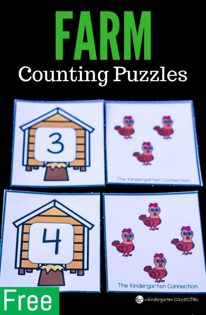 FREE Printable Farm Counting Puzzles for Pre-K and Kindergarten!