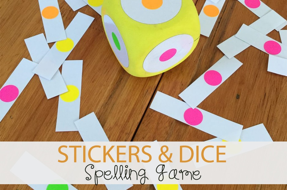 Stickers & Dice Spelling Game