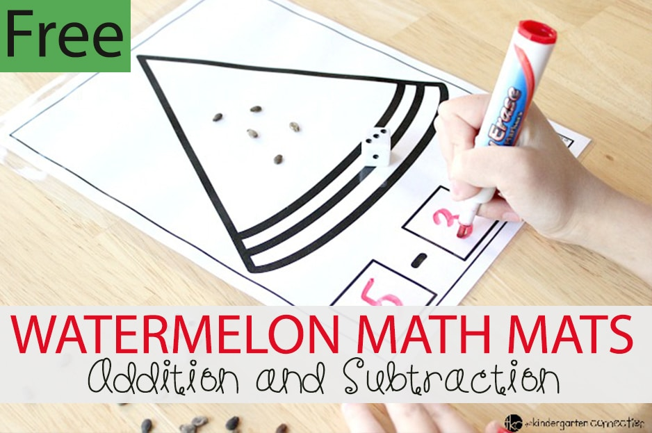 Watermelon Addition and Subtraction Math Mats