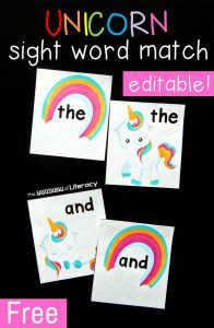 Unicorn Sight Word Matching Game