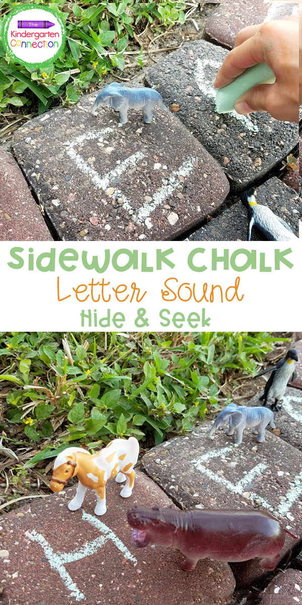 My kids and I love outdoor learning. We created this Sidewalk Chalk Letter Sound Hide & Seek game with kindergartners in mind, but you can adapt it for other ages as well.