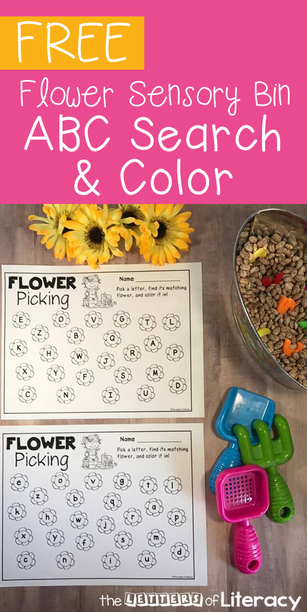 Practice the letters of the alphabet with your Preschooler or Kindergartener with this fun flower garden sensory bin with free alphabet printables!