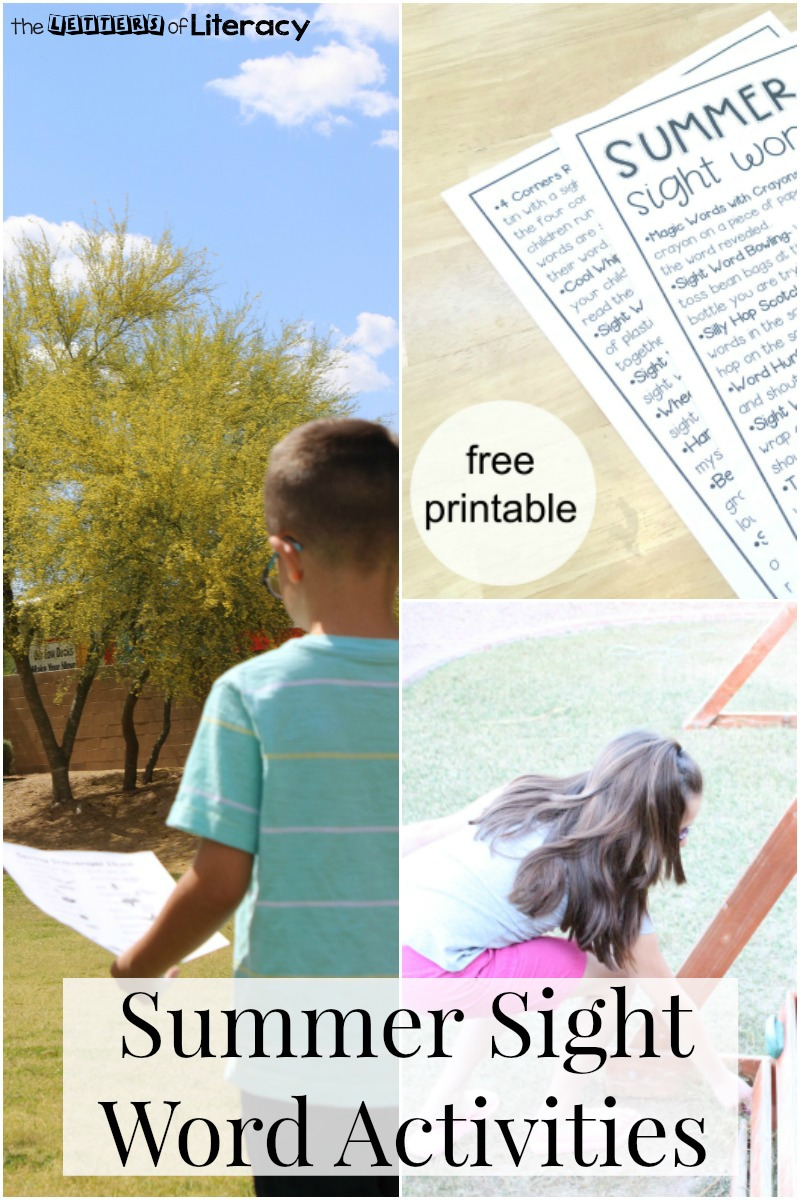 Summer Sight Word Activities with FREE printable list