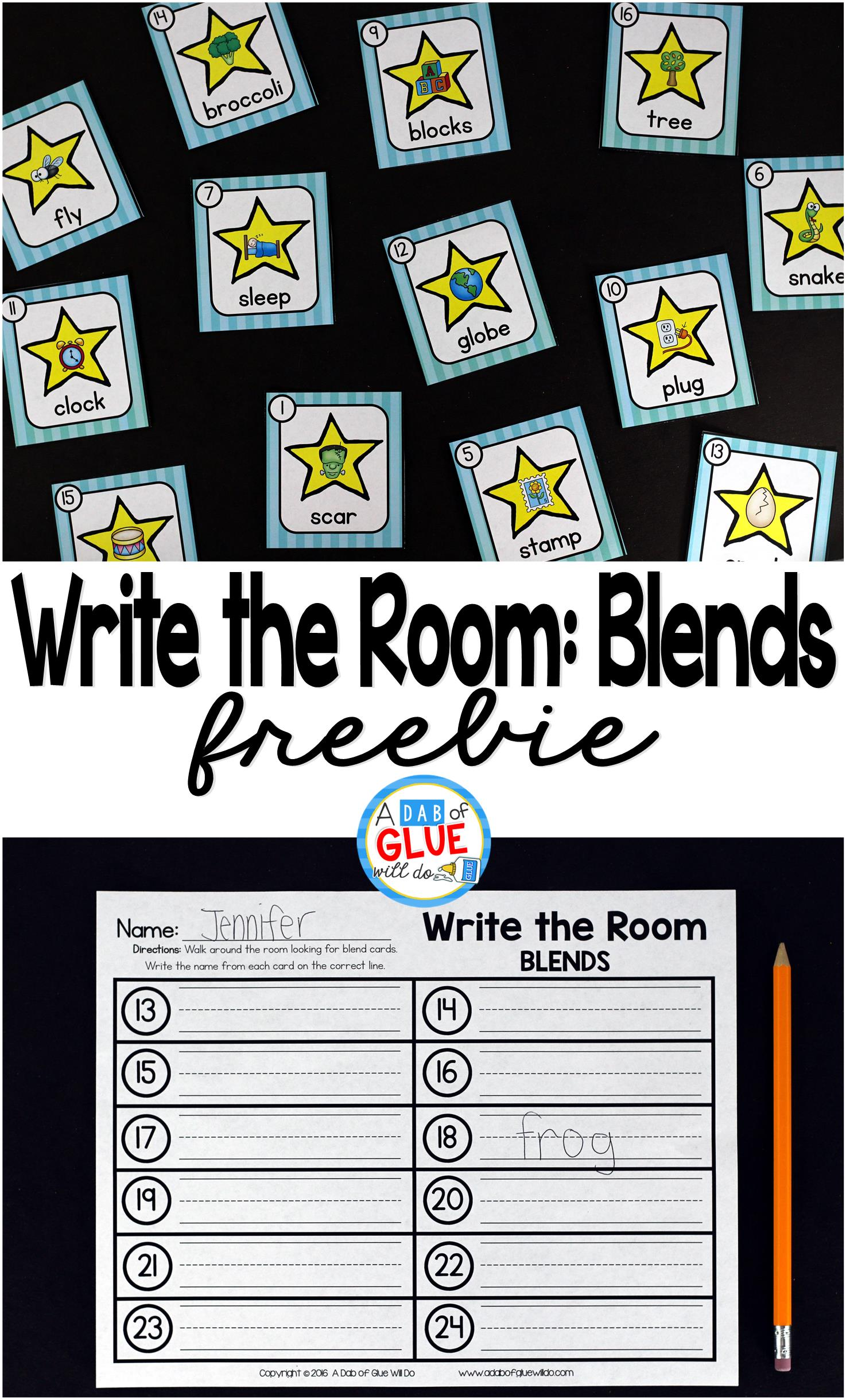 Super fun star-themed blends write the room for Kindergarten and First Grade!