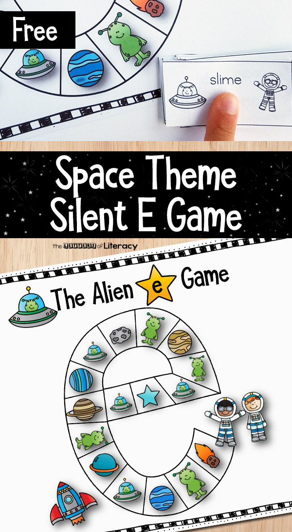 For kids just learning about Silent E long vowels, you can give them some extra practice with this engaging, space themed Silent E game!
