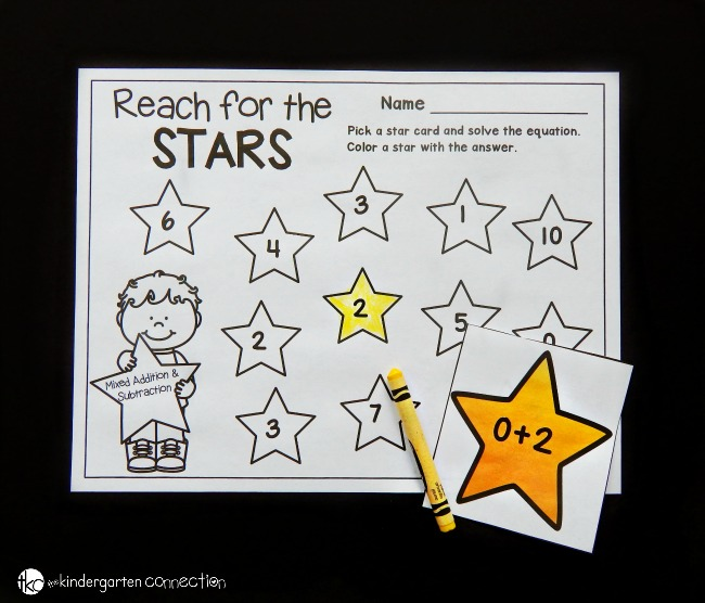 Work on number sense and addition and subtraction facts with this star themed addition and subtraction math facts game! It's a great math center for facts to 10!