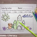 Beach Theme Color By Letter - Free Educational Printables For Preschooler or Kindergartner