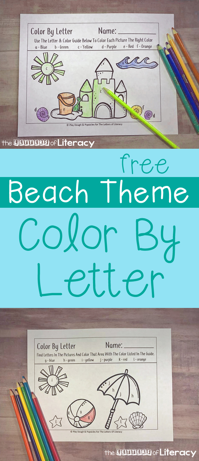 Work on recognizing letters of the alphabet with your Pre-K or Kindergartener with these fun and free beach themed color by letter printables!