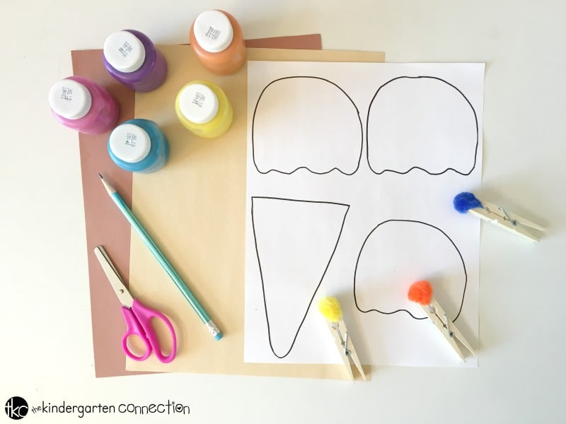 Grab this FREE Ice Cream Cone Printable and have fun with your children as they create with this Ice Cream Art Fine Motor Painting project!