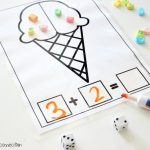 Ice Cream Math Mats, build addition problem with marshmallows