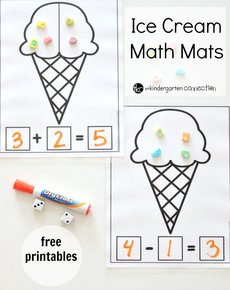 Ice Cream Math Mats free printables for kindergarten!