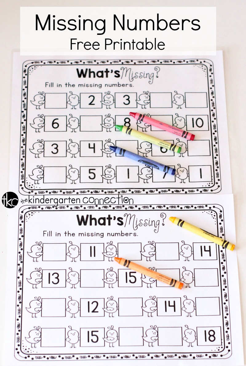 Missing Numbers Free Printable