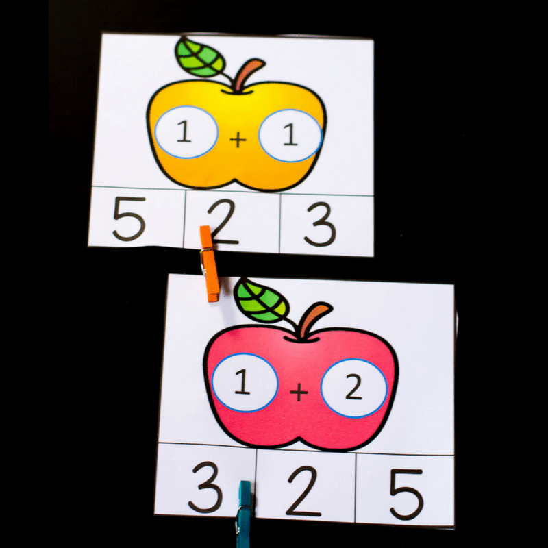 These apple addition math clip cards were perfect for introducing the concept of addition to my son. They were colorful, hands-on and the best part- it was not a worksheet!
