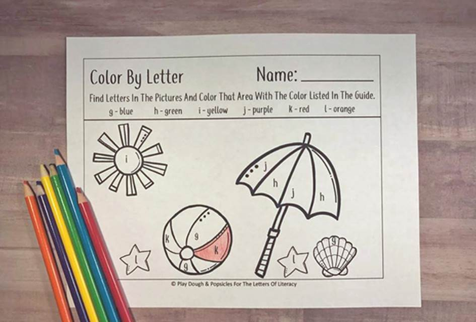 Beach Themed Color By Letter Printables