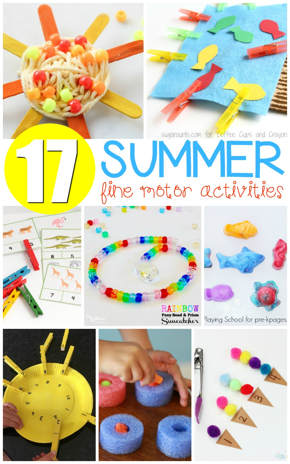 These summer fine motor activities will help kids improve fine motor skills that will help with skills like writing, cutting, drawing, coloring, and more!