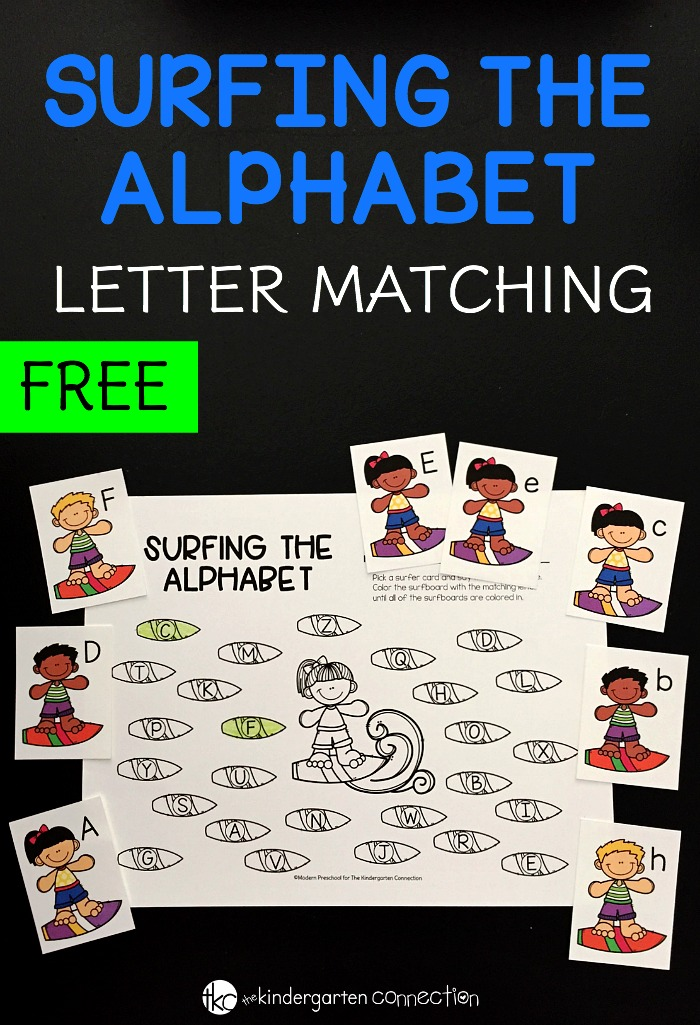 This free Surfing the Alphabet Letter Match Activity is a great way to practice letter recognition for preschoolers and kindergarteners!