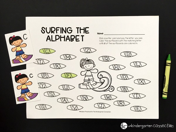Continue picking surfer alphabet cards until all of the surfboards on the recording sheet are colored in.