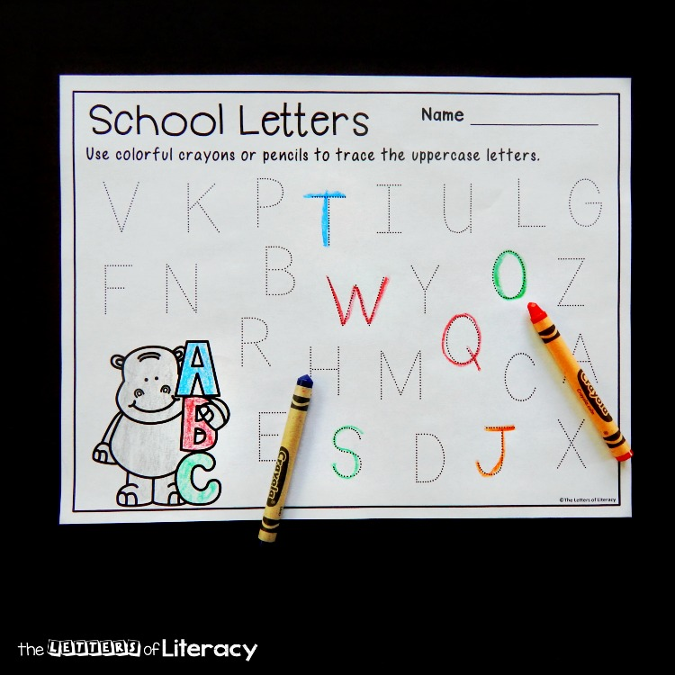 Work on letter recognition and writing with your Pre-K or Kindergartener with these fun and free Back to School alphabet tracing printables!
