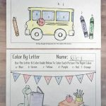 Free Back To School Themed Color By Letter Printable For Preschool or Kindergarten
