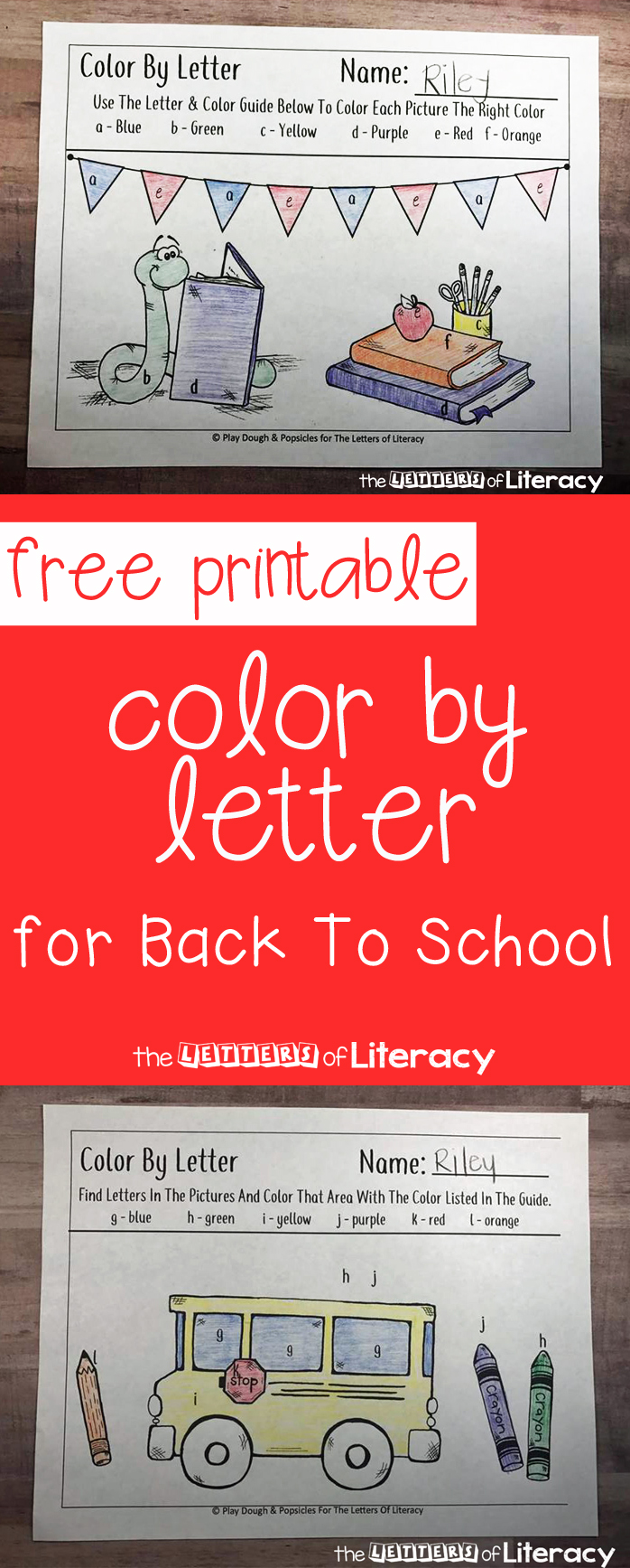 free back to themed color by letter printables