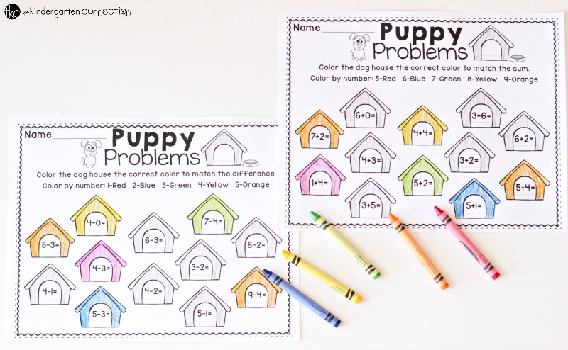 These FREE Color by Number Math Printables are available in addition and subtraction and are a fun puppy theme! Perfect for primary grades!