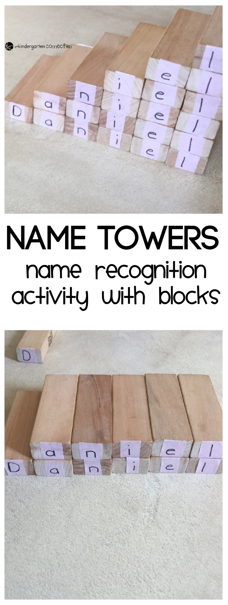 Do you have blocks laying around? Perhaps it is wooden building blocks or blocks from a game like Jenga. Use Jenga blocks for this fun name or sight word recognition activity, name towers!