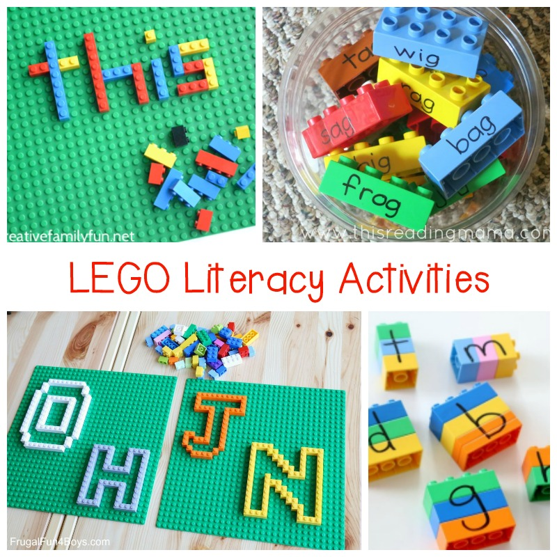 These LEGO literacy activities are such fun for kids, including letter recognition, spelling, writing, sound matching, rhyming,and more!