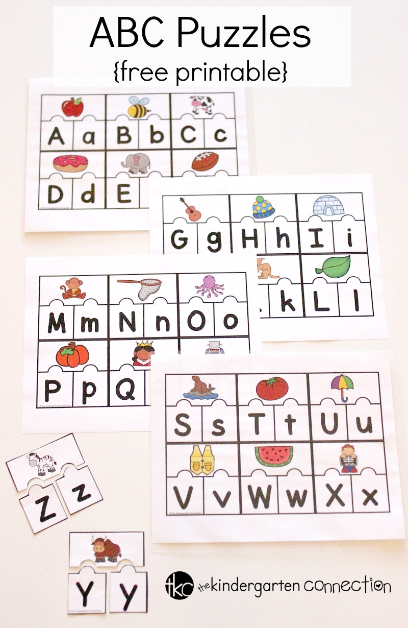 These FREE ABC Puzzles are a perfect literacy center for Pre-K and Kindergarten students who are learning their letters and sounds!