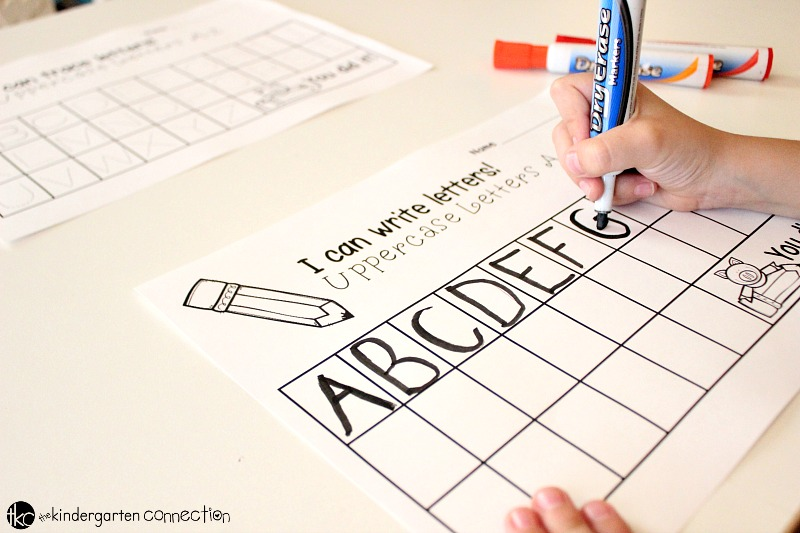 Alphabet Trace and Write letters free printable pack, use dry erase markers to write uppercase letters