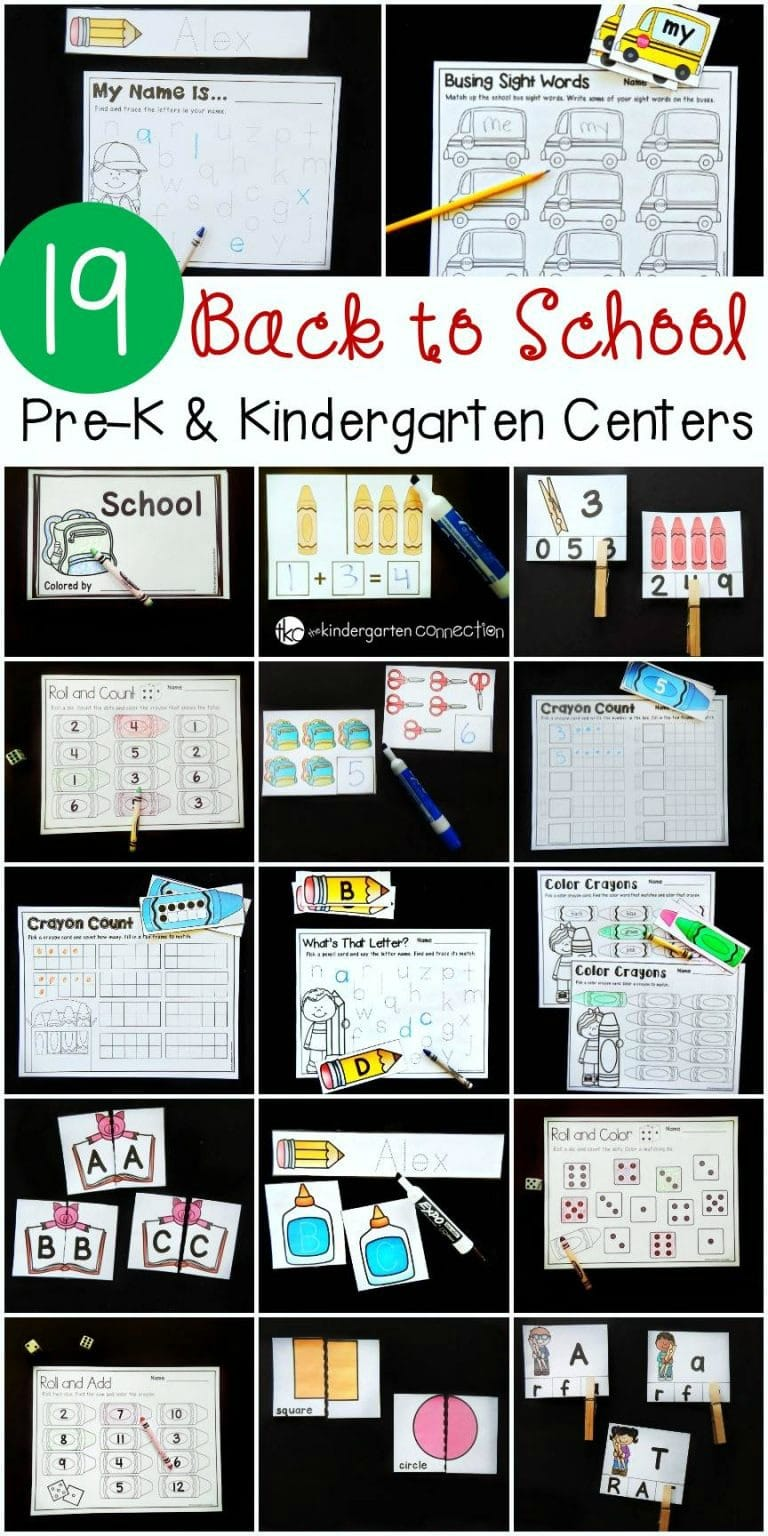 These Pre-K and Kindergarten Back to School activities and centers are ready to print and play, and will keep kids learning this Back to School season!