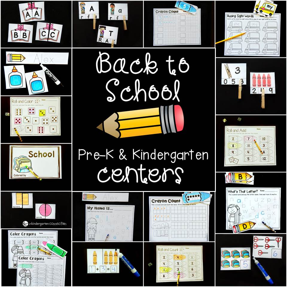 Back to School Centers for Pre-K and Kindergarten