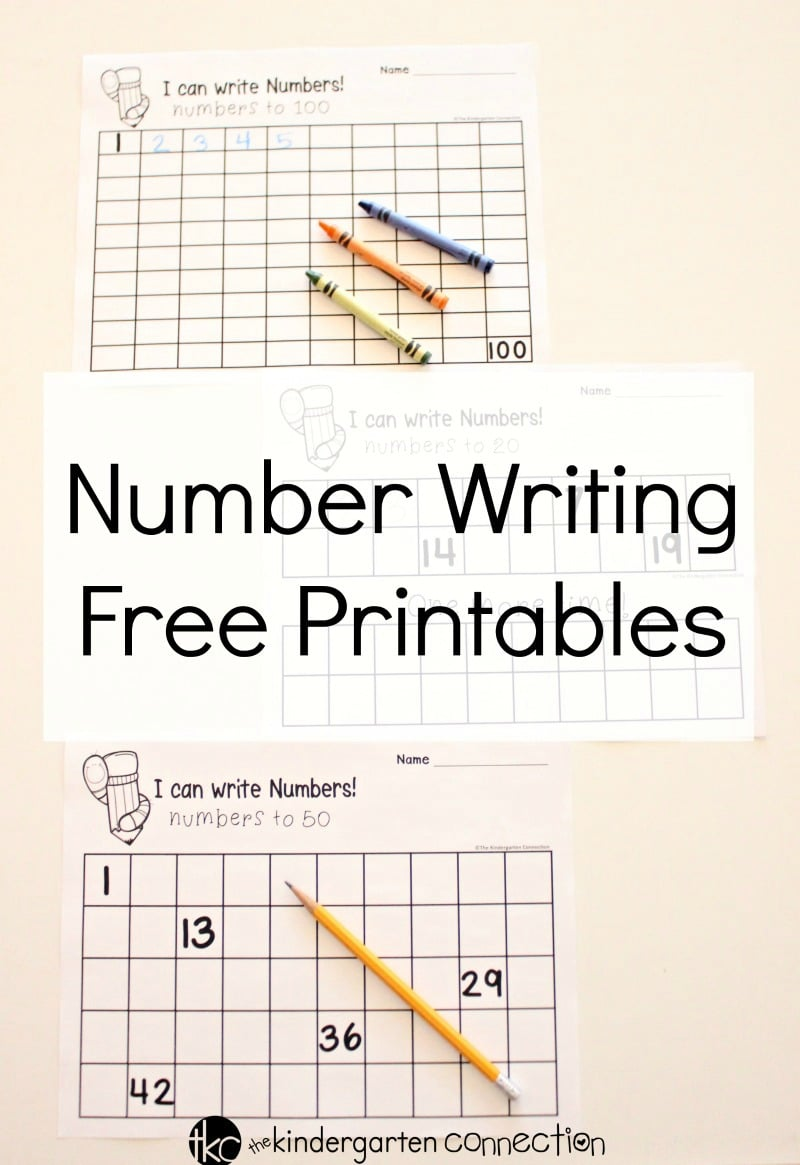 Number Writing Free Printable Charts for filling in numbers 1-20, 1-50 and 1-100, for Kindergarten!