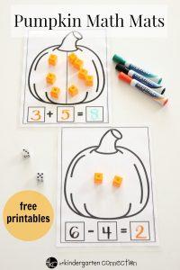 Pumpkin Math Mats Free Printables