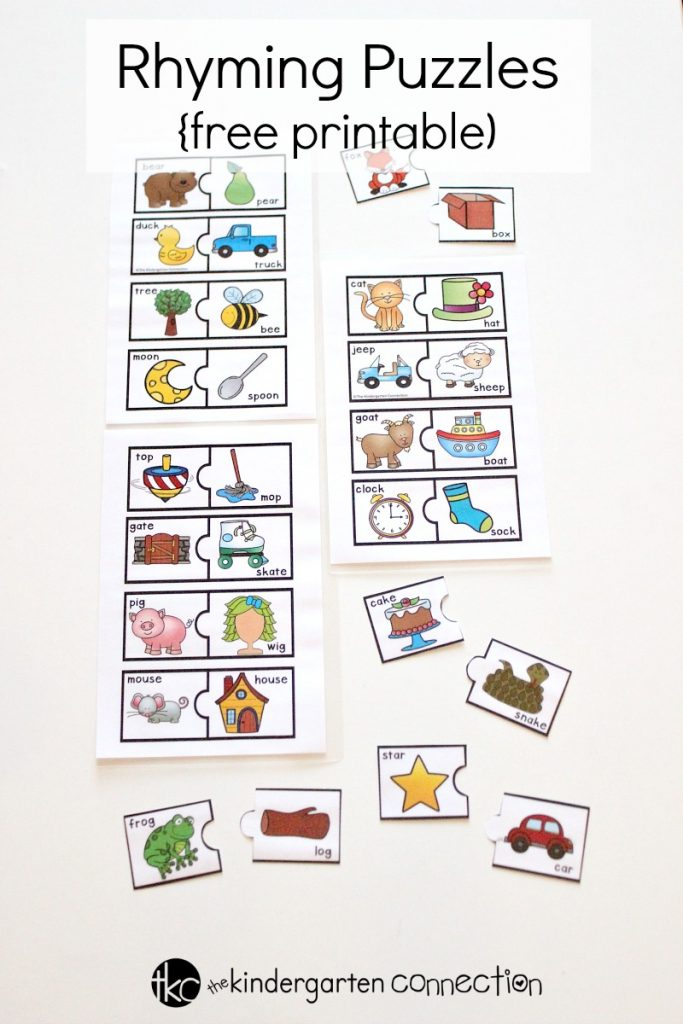 Rhyming Puzzles free printable