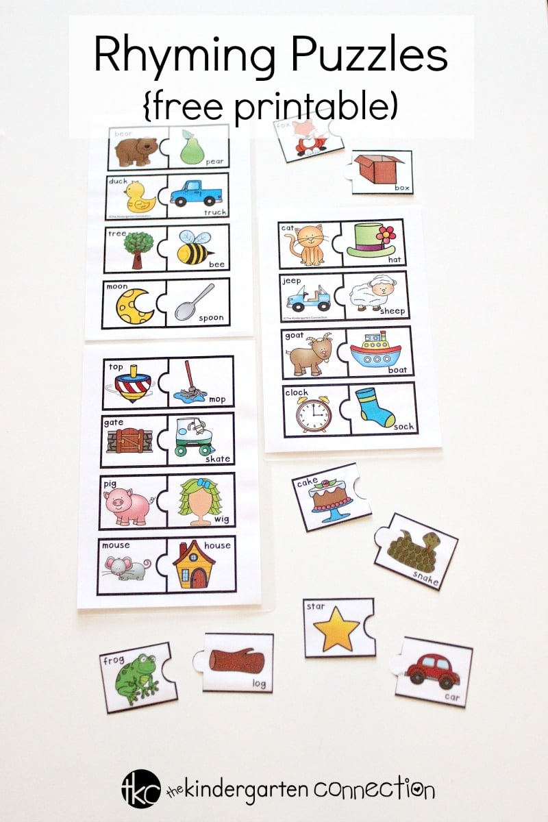 picture about Free Printable Fill in Puzzles referred to as Totally free Printable Rhyming Puzzles for Kindergarten Literacy Facilities