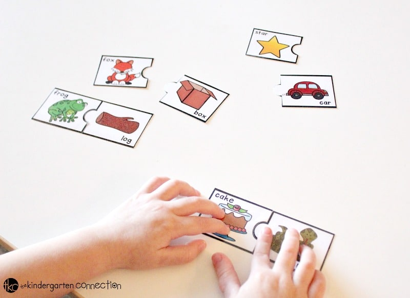 Rhyming Puzzles free printable, find the match