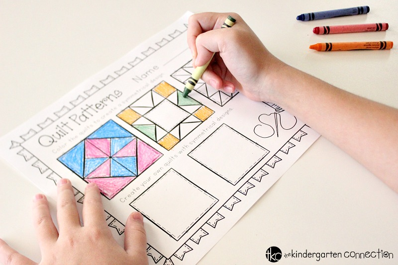 This FREE Symmetry Quilt Patterns printable is perfect for primary grades! It encourages children to be creative and make their own symmetry designs!