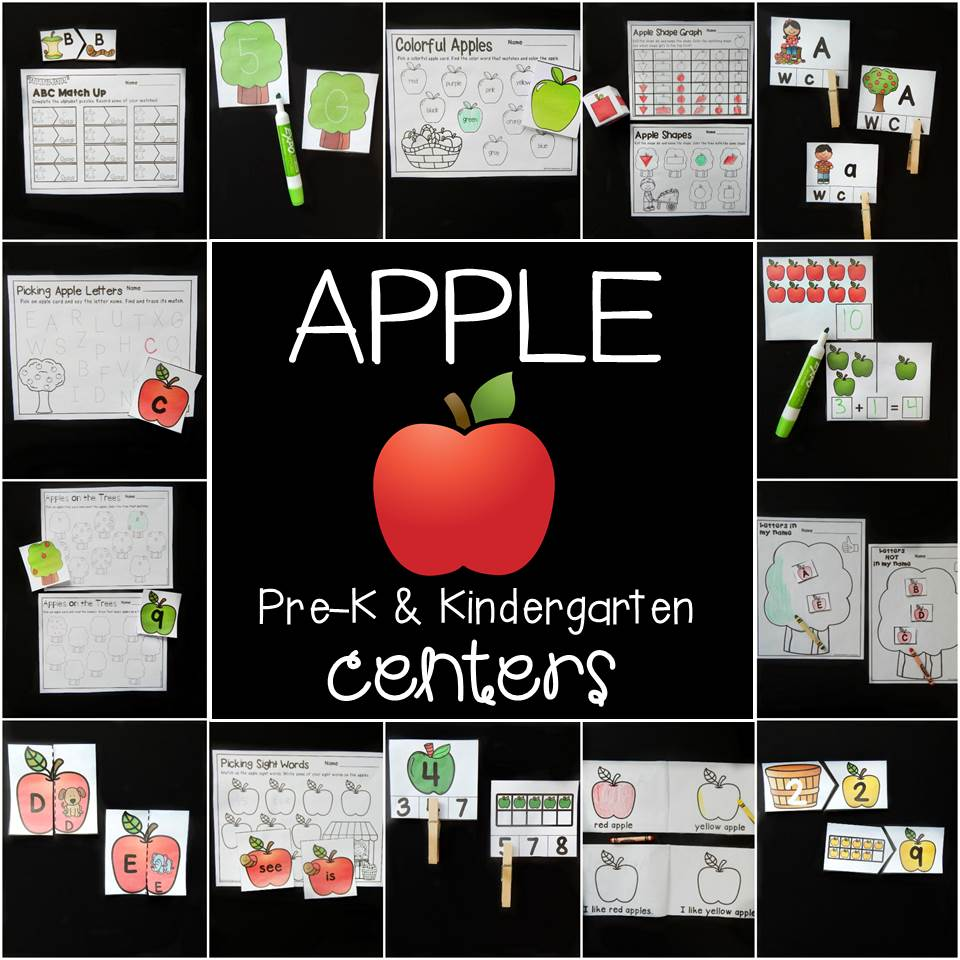 Fun apple math and literacy centers for Pre-K and Kindergarten!