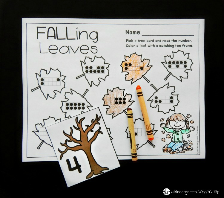 This fall themed subitizing math center is a great way to build up number sense and work on subitizing with ten frames with your students!